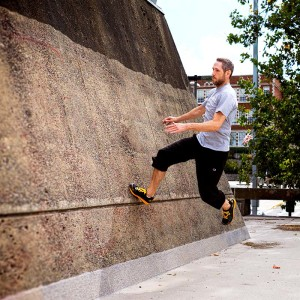 Jason W. Bay practices parkour wall runs