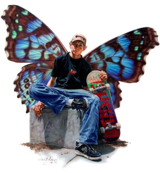 Illustration of Winged Boy with Skateboard
