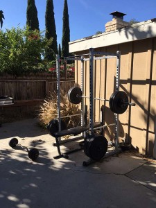 Game Programmer Gene Walters' workout area at his home office