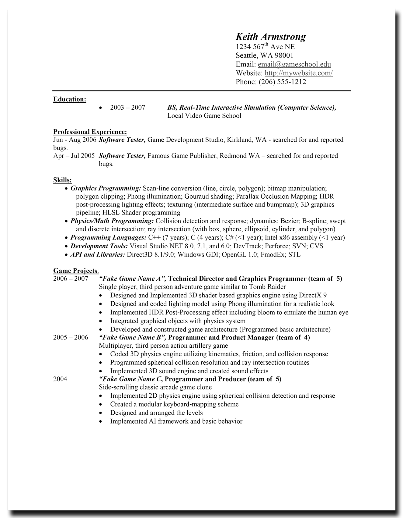 Real Video Game Developer Resume Examples